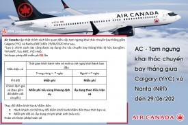 AC - Tạm ngưng khai thác chuyến bay thẳng giữa Calgary (YYC) và Narita (NRT) đến 29/06/202