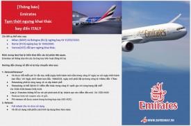 Emirates - Tạm ngưng đường bay đến Italy