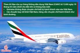 Emirates không chở khách vào Việt Nam