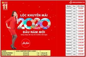 Bảng giá khuyến mãi Air Asia Tuần 3 - Tháng 01/2020