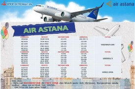 Air Astana Triển khai giá các chuyến bay đến Trung Á
