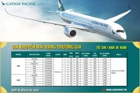 Cathay Pacific khuyến mãi hạng Thương Gia từ SIN / HAN đi NAM