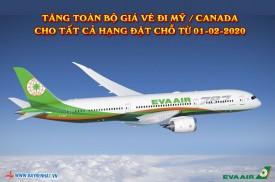 Eva Airways triển khai tăng toàn bộ giá vé đi Mỹ / Canada cho tất cả hạng đặt chỗ