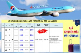 Korean Air khuyến mãi tuyến đường Mỹ và Canada từ ngày 04/01/2020