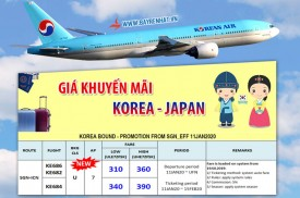 Bảng giá Korean Air khuyến mãi tuyến Hàn Quốc và Nhật Bản từ ngày 11/01/2020