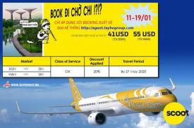 Scoot Airlines  Triển khai khuyến mãi lớn tháng 1. Xuất vé từ 11/01/2020 đến 19/01/2020