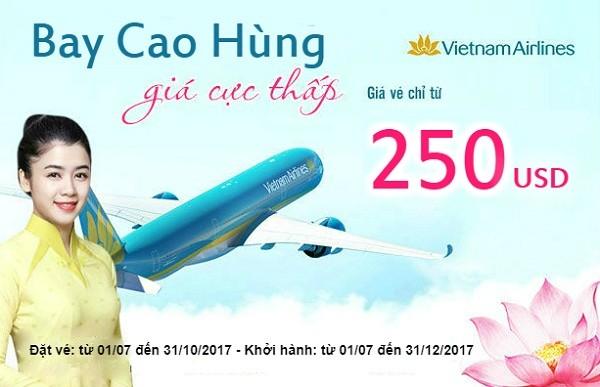 Bay Tp Hồ Chí Minh - Cao Hùng (Đài Loan) chỉ từ 250 USD của Vietnam Airlines