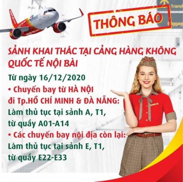 VietJet Air thông báo thay đổi khu vực làm thủ tục tại sân bay Nội Bà