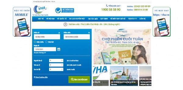 Đặt vé máy bay online qua website VHA.VN