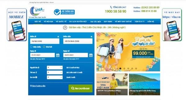 Săn vé máy bay giá rẻ  trên web site VHA.VN