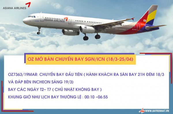 ASIANA AIRLINES: OZ mở bán chuyến bay SGN/ICN (18/3-25/04)