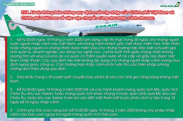 EVA Air thông báo những quy định mới cập nhập của Chính phủ Việt Nam và Chính phủ Đài Loan