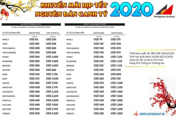 Phiippines Airlines triển khai giá khuyến mãi Tết Nguyên Đán xuất vé hết 26/01/2020