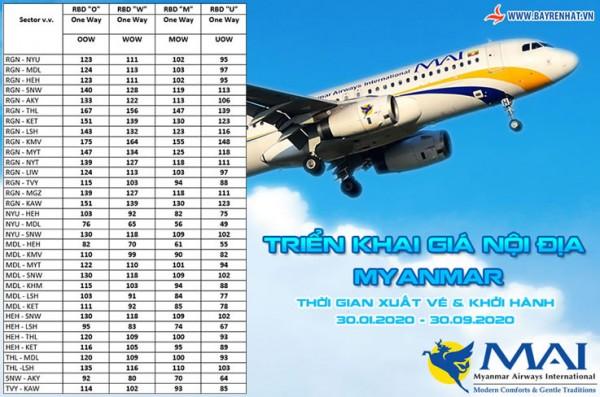 Myanmar Airways Triển khai giá nội địa Myanmar - 30.01 đến 30.09.2020