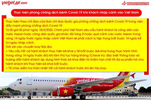 VietJet - Thực hiện phòng chống dịch bệnh Covid-19 khi khách nhập cảnh vào Việt Nam